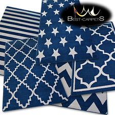 Incroyable Épais Tapis Modernes Brouillon Bleu Blanc 6 Motif Grande Taille