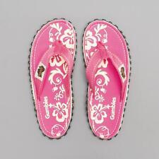 Gumbies ISLANDER Ladies Womens Summer Canvas Sandals Flip Flops Pink Hibiscus