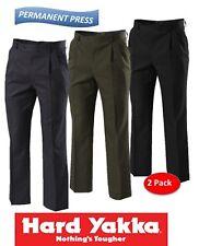 HARD YAKKA - 2 PACK - MENS PERMANENT PRESS PLEAT FRONT PANT + TEFLON++  - Y02592