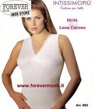 3 Canotte donna Intissimopiu spalla larga in lana cotone con reggiseno art 883
