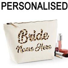 Bride Personalised Name Women's Make Up Bag Wedding Hen Gift Leopard Print