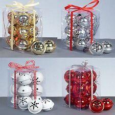 Premier 12er Pack Schneeflocke 40mm Jingle Bell Kugeln Rot Gold Silber/weiß