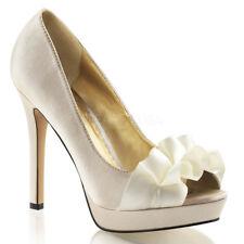 Fabulicious LUMINA-42 Platform Shoes Champagne Satin Ruffled Open Toe High Heels