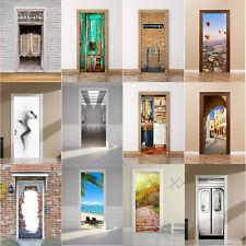 2pc 3D Door Wall Fridge Sticker Wrap Mural Scene Self Adhesive Room Decor Decal
