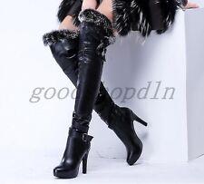Luxury Womens Genuine Leather Fur Winter WARM High Heel Over Knee Thigh Boots SZ