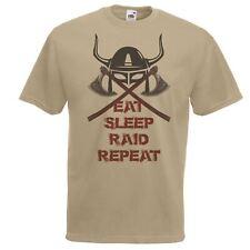 Mens Khaki Eat Sleep Raid Repeat T-Shirt Viking Norsemen Heathen T-Shirt