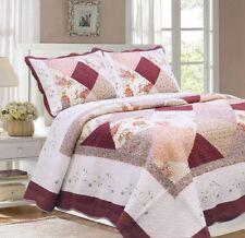 Laura Burgundy Real Patchwork Reversible 100%Cotton Quilt Set Bedspread Coverlet