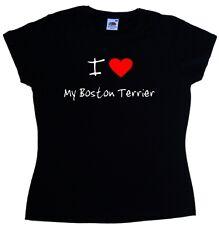 I Love Heart My Boston Terrier Ladies T-Shirt