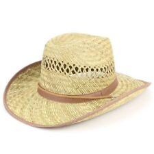 Sombrero de Cowboy Paja Hawkins Negro Marrón Banda Verano tipo Fedora borde