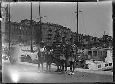 Ancien négatif photo sur verre plaque portrait famille enfants Toulon
