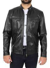 Mens Leather Casual Biker Jacket Zip Fastening Style Jaime Black