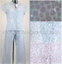 Ladies pyjama short sleeve button front pink or blue polycotton long leg pyjama