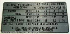 Suzuki SP400 Reifen Druck Achtung Label