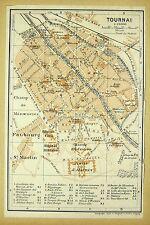 TOURNAI, alter farbiger Stadtplan, gedruckt ca.1900, (Doornik)