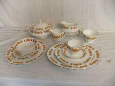C4 Porcelain Bone China England Orange floral pattern 1970s, gilded edge, 9A3B