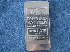 Johnson Matthey .999 Silver 10 Oz Ingot Bar BU Struck Type Ser# 560168 B6958