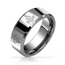 Freemason Masonic Mens Tungsten Band Ring Beveled Edge 8mm