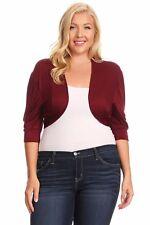 New Women's Plus Size Short Sleeve Burgundy Bolero Cardigan Sizes 1X 2X 3X
