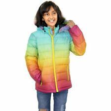 Kids Girls Jackets Rainbow Faux Fur Hooded Two Tone Christmas Festive Gift Coats