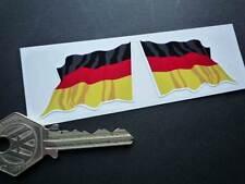 "GERMAN Wavy Flag Car STICKERS 2"" Pair Germany Tricolour Deutschland Bike Race"