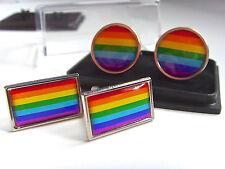RAINBOW FLAG LGBT MOVEMENT GAY PRIDE FLAG MENS CUFFLINKS GIFT