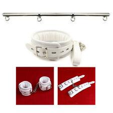 White-Handcuff-Ankle-Cuff-Neck Collar-Set-Leg-Spreader-Bar-Restraint-with chain