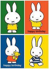 Nouveau dick bruna 'miffy lapin mignon kwaii rétro carte de vœux anniversaire blanc noël