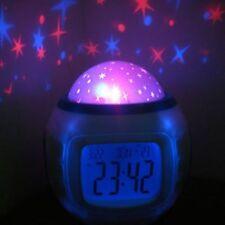 Digital Led Projector Alarm Clock Music Lights Starry Star Snooze Children Gifts