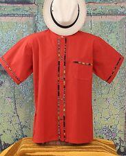 Latin American Men's Guayabera Shirt Rust Color Mandarin Collar made in Mexico
