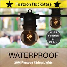 20m Black Festoon Lights | Huge Selection of Globe Outdoor Party String Lighting