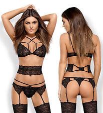 OBSESSIVE Frivolla Luxury Lace Bra, Belt, Suspender Belt and Matching Thong Set