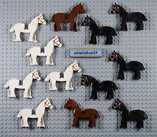 LEGO - Horses Combo Lot - Black White Brown Animal Farm Castle Knight Bulk Army