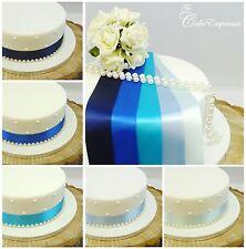 SATIN RIBBON 35mm & PEARLS CAKE DECORATION BIRTHDAY & WEDDING CAKE TOPPER TRIM