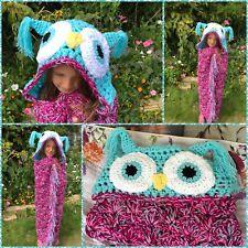 Crochet Hooded Owl Blanket Chunky throw birthday gift her for her Adult kids UK