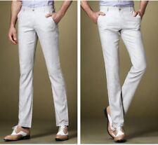 Men's 100% Linen Trousers Slacks Stretch Casual Summer Slim Fit Pants Boot Cut