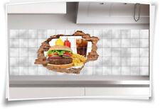 Fliesenaufkleber Fliesenbild Wanddurchbruch Burger Fastfood Pommes Frites Imbiss