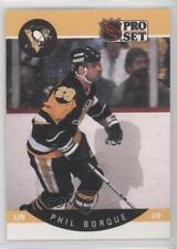 1990 Pro Set #228.1 Phil Bourque (Error: Borque) Pittsburgh Penguins Hockey Card