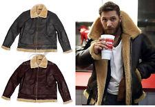 Dunkirk Shearling Leather Jacket For Men Bane Aviator Fur Bomber