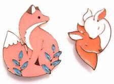 FOREST ANIMAL ENAMEL LAPEL PIN fox ferns love deer couple brooch cute 2I