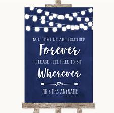Wedding Sign Poster Print Navy Blue Watercolour Lights Informal No Seating Plan