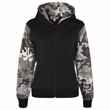 Boys Girls Jackets Kids Fleece Camouflage Hooded Hoodie Zipped Top Jacket 7-13 Y