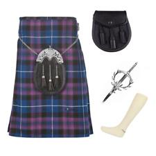 4 Pezzo PACCHETTO Kilt Con Pin tubo e lo Sporran-Taglie 30-44 - Pride of Scotland