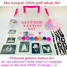 GLITTER TATTOO KIT 146 stencils 8 glitters boy girl name or company printed FREE