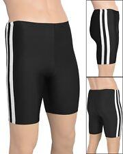 Herren Radler mit weißen Streifen elastische Sport Hose stretch shiny glänzend