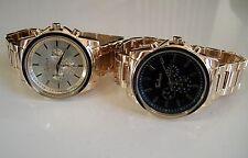 Mens Designer dressy/rapper style gold finish fashion bracelet watches
