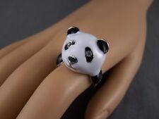 Black White Silver enamel giant panda face bear big cocktail statement ring