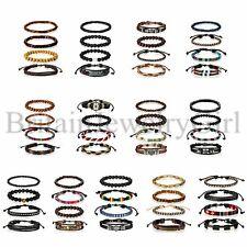 Men Women 4pcs Leather Lots Bracelets Wooden Beaded Bangle Braided Wristband