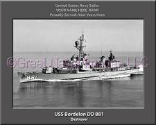 USS Bordelon DD 881 Personalized Canvas Ship Photo Print Navy Veteran Gift