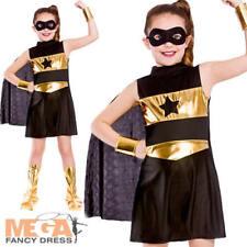 Black Superhero Girls Fancy Dress Comic Book Childrens Kids Child Costume Outfit