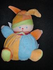 doudou peluche clown lutin arlequin Berlingot jaune bleu orange COROLLE 22cm (3X